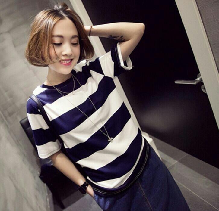 韩版时尚休闲纯棉拼色圆领短袖T恤,女士T…